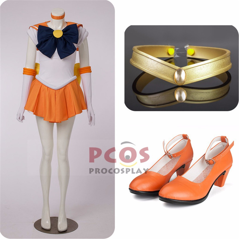 Harga Set Terbaik ~ Sailor Moon Sailor Venus Aino Minako Cosplay - Kostum karnival