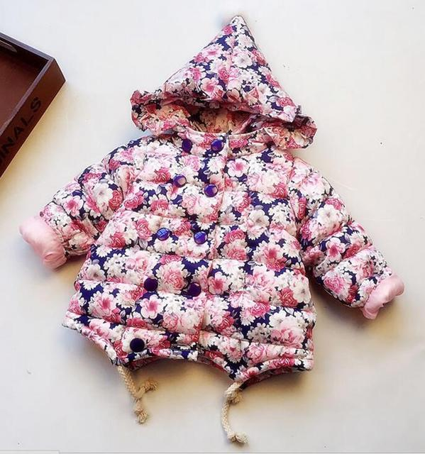High quality Girls baby Wave Thicken Flower magic hat cotton-padded jacket/cotton-padded jacket kids winter Coat  Wholesale 2016