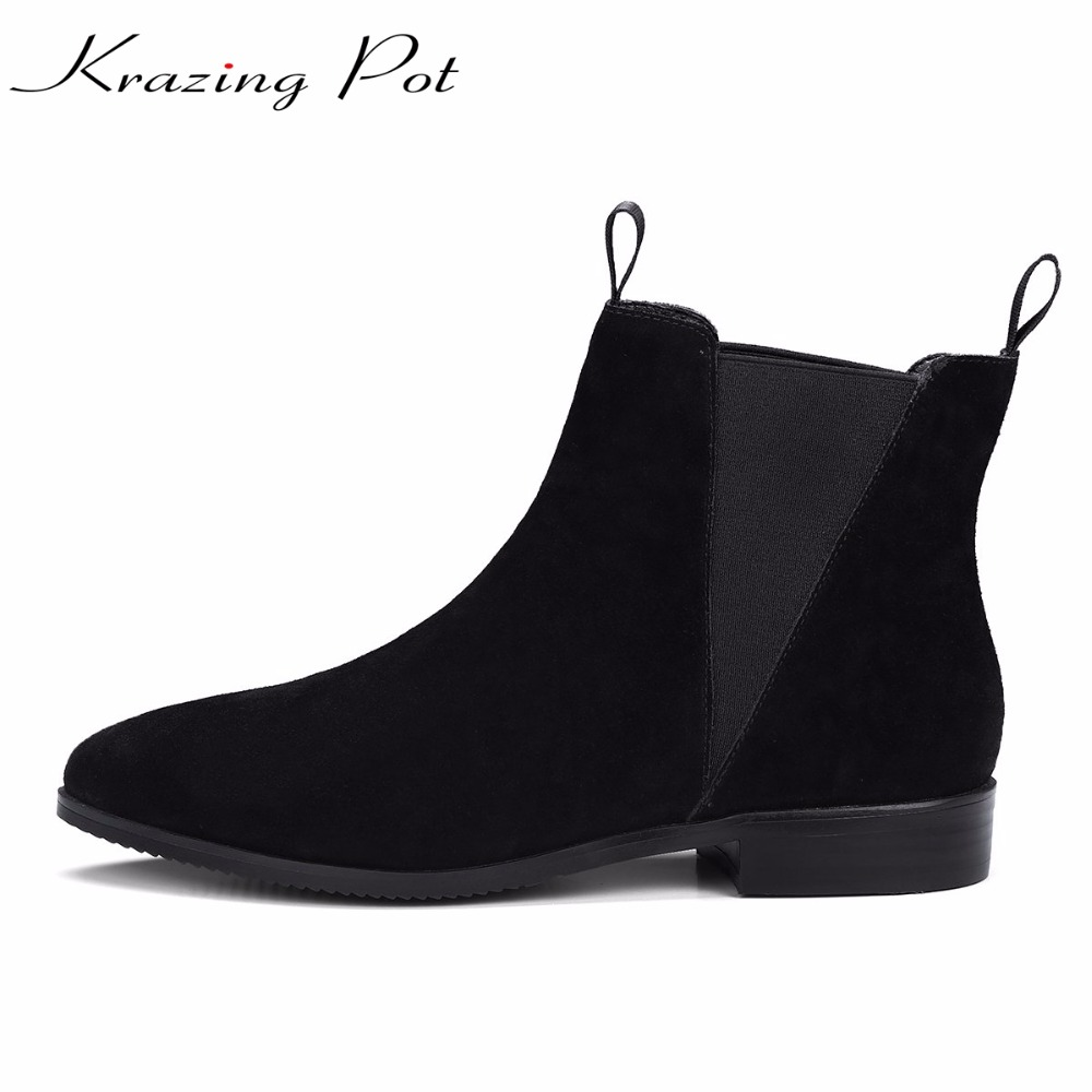 Krazing Pot cow suede high street fashion low heels Chelsea boots woman pointed toe keep warm solid office lady ankle boots L12 krazing pot hot sale cow suede round toe thick high heels fashion office lady bowtie design keep warm quality ankle boots l8f1