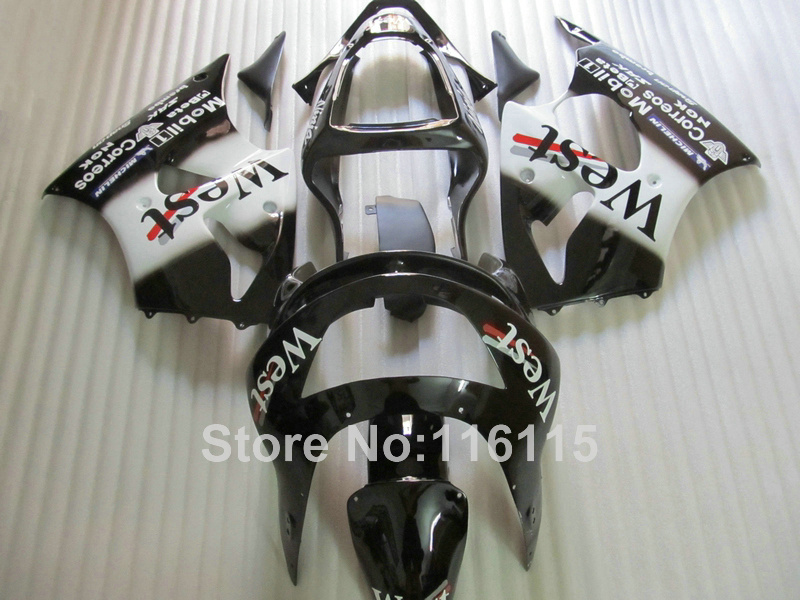 ABS full fairing kit for Kawasaki ZX6R 1998 1999 Ninja 636 ZX 6R 98 99 white black West bodywork fairings set PP14 abs plastic motorcycle body fairing kits for kawasaki zx6r 1998 1999 orange green full fairings bodywork ninja 636 zx 6r 98 99