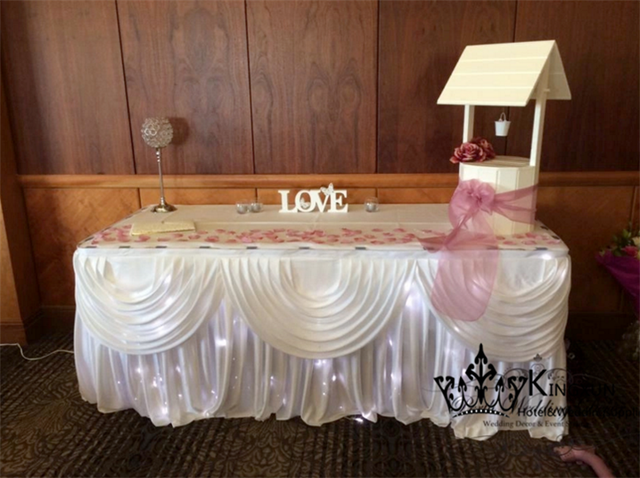 White Color Ice Silk Table Skirt \ Cake Table Skirting Inlude The Led Lights