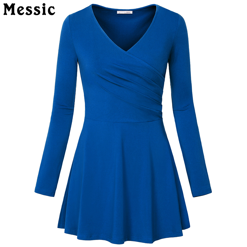 Messic Casual Long Sleeve Tunic Mini Dress Women 2018 Summer V Neck Pleated Elegant Party Dresses A Line Knitted Robe Femme messic cotton long sleeve winter dresses