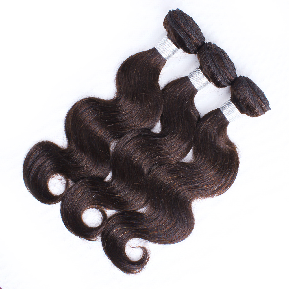 MOGUL HAIR Peruvian Body Wave Color 2 Dark Brown 100% Remy Human Hair 2/3 Bundles 12-24 inch Hair Weave Extensions Pre-Colored