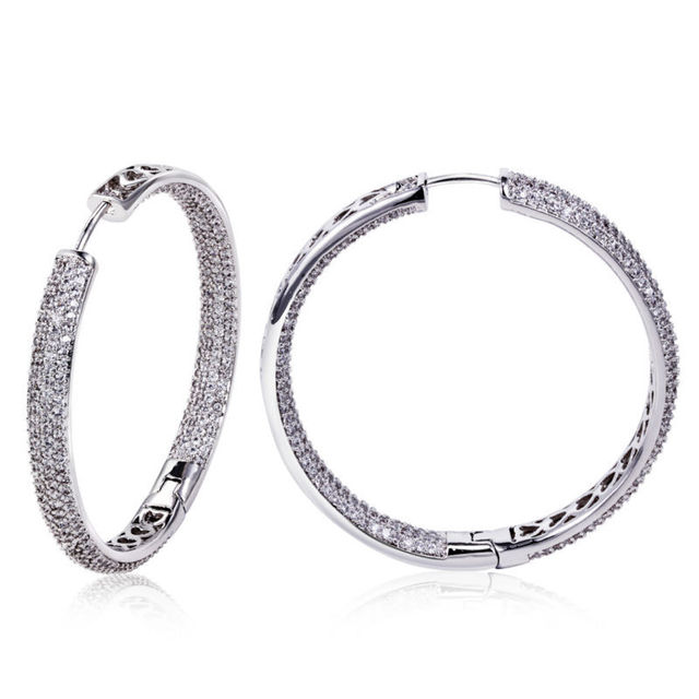 DC1989 Ladies Luxury Design CZ Hoop Earrings Rhodium Plated Synthetic Cubic Zircon Micro Paved Lead Free Bridal Party Jewelries