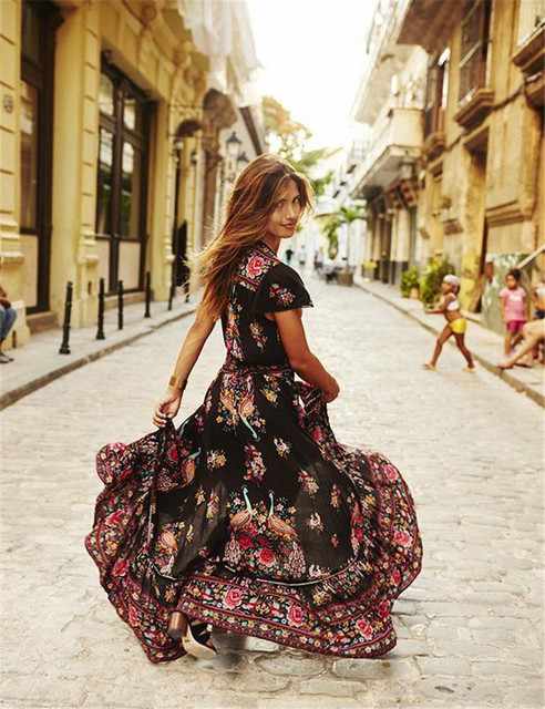 Summer V Neck Vintage Floral Boho Long Maxi