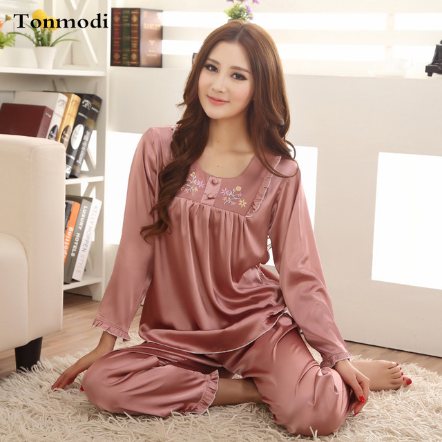 e228280a25 Pajamas For Women Summer Elegant luxury Ladies Silk Sleepwear Women Pajama  Set Plus Size XXXL Pijama