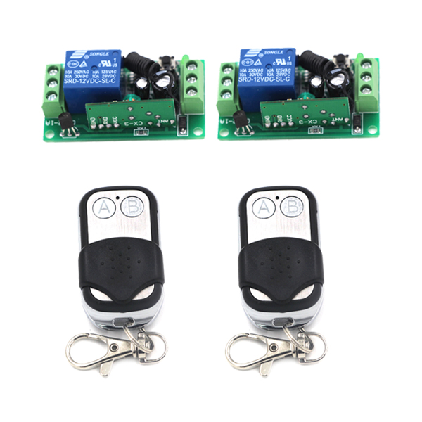 DC 12V 315/433MHZ 10A RF Wireless Remote Control Switch and 200M Metal Remote System learning code for Smart Home SKU: 5402