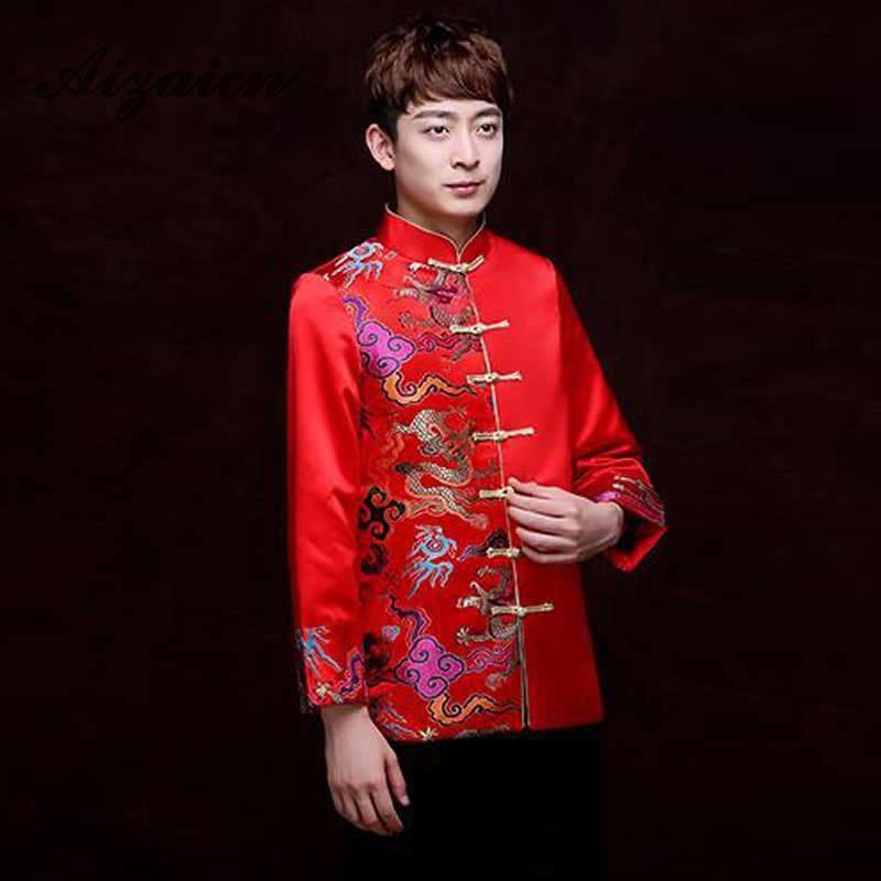 Röda Traditionella Kinesiska Kläder För Män Bröllop Ancient - Nationella kläder - Foto 5