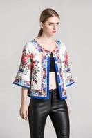 High quality floral print Jacquard jackets Fashion 2017 Fall Runways woman ethnic style coats