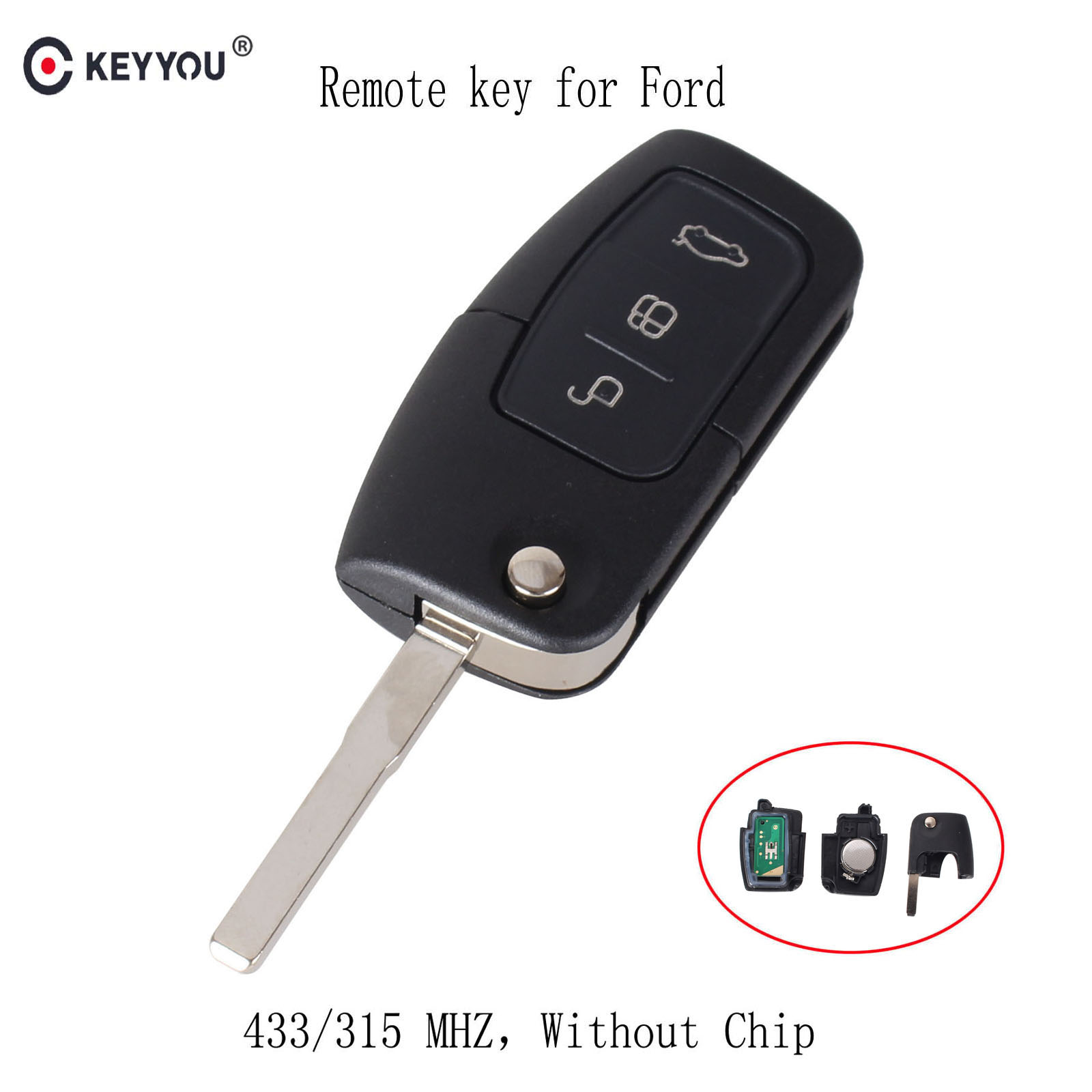 ontto Smart Car Key Case Key Fob Holder Remote Control Key Jacket with Key Chain 360 Degree Full Protection TPU Key Shell for Ford Mondeo Focus 3 MK3 ST Kuga Fiesta Escape Ecosport Titanium Silver