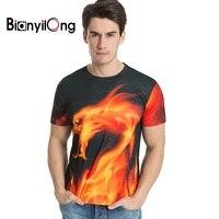 BIANYILONG t shirt hommes marque vêtements d'été 3d Feu dragon impression t-shirt mâle occasionnel t-shirt mode hommes manches courtes M-5XL