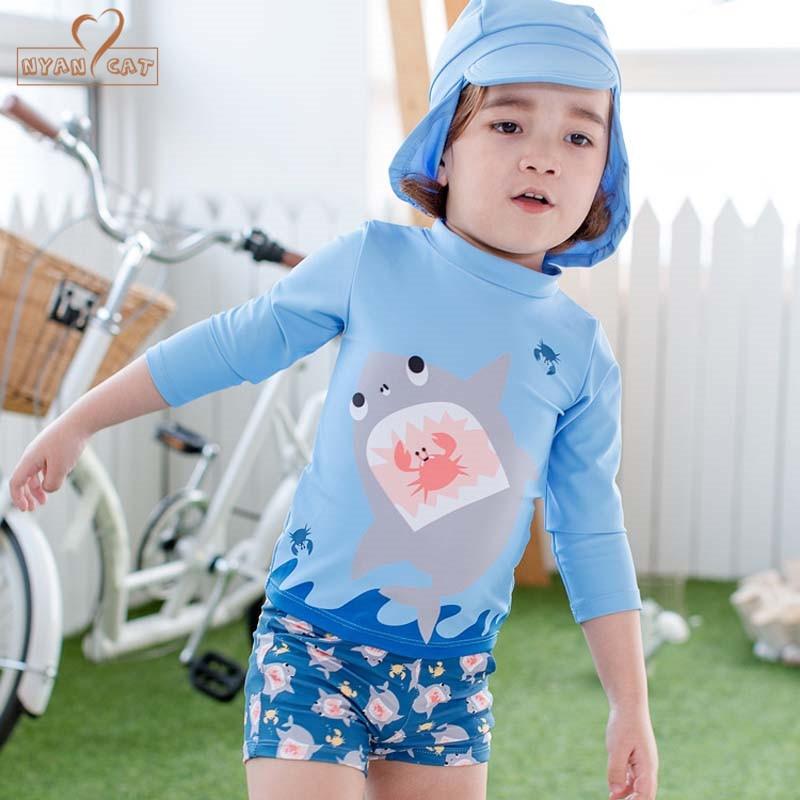 Nyan Cat Boys Swimwear 3pcs Swimsuits for Toddler Boy Shark Children Swimsuit Long Sleeve Separate Swimming bathing Suits