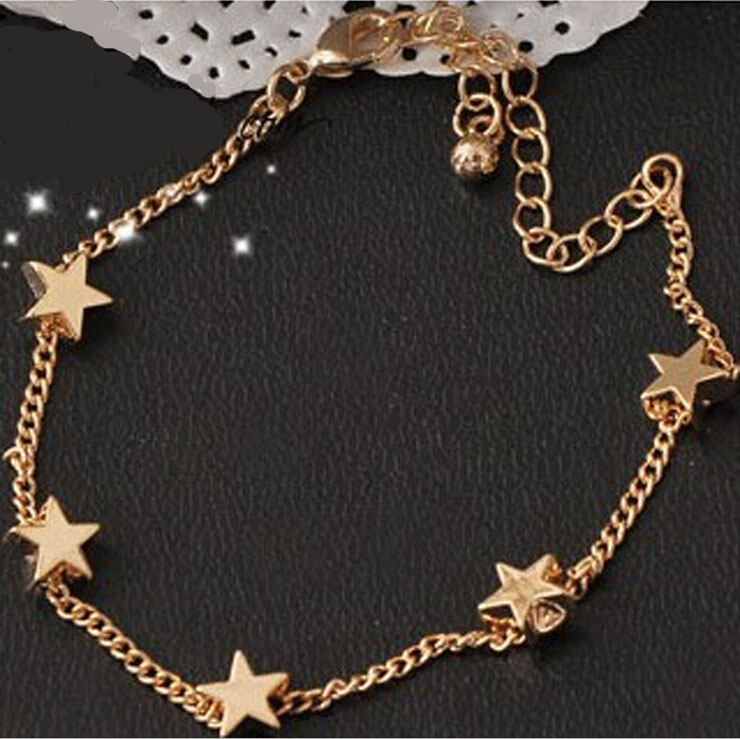 New Lady Girls Bangle Simple Gold Filled Chic Heart Trendy Stars ...