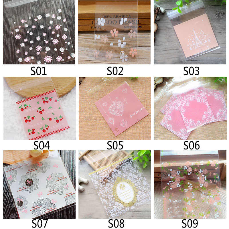100Pcs ดอกไม้การ์ตูนน่ารักคุกกี้บิสกิต Self-adhesive PARTY กระเป๋าแต่งงานเค้ก Candy ของขวัญถุงอบแพคเกจ 7*7 ซม.