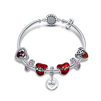 925 пробы серебро Романтический Сердце Любовь Мама навсегда кулон подарок матери Браслеты браслеты для Для женщин Серебряные ювелирные изде