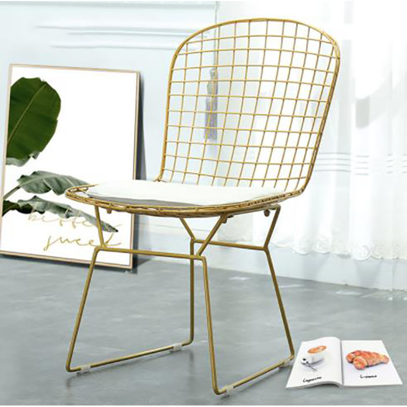 Nordic ins hollow metal dining chair living room personality Wire Chair coffee shop net red iron chair
