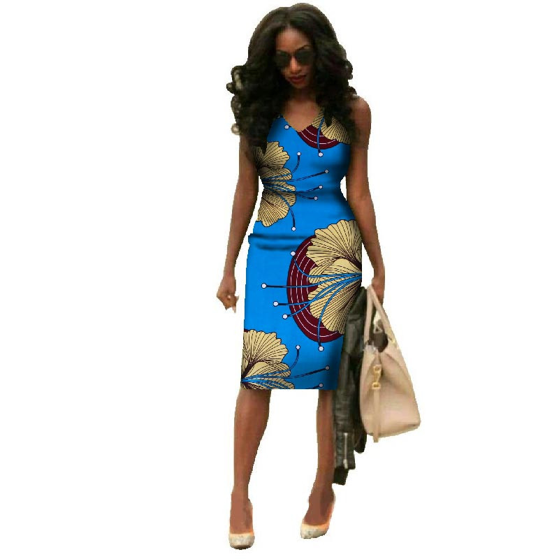 2018 African Dresses For Women Summer African Clothes Dashiki Plus Size African Wax Print Dresses Bazin Riche Africa Dresses