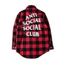 Hip Hop Anti Sozialen Social Club Shirts Männer Frauen Herbst gute Qualität Ganzkörperansicht Flanell Justin Bieber Assc Shirts Kleid Hombre