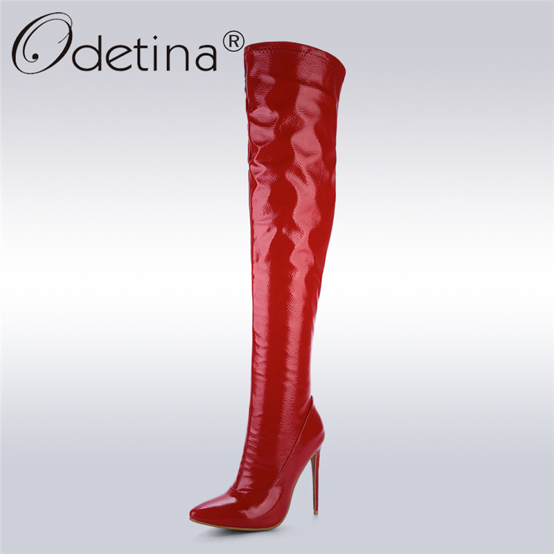 Odetina 2017 Fashion Patent Leather Over Knee Boots Thigh High Boots for Plus Size Women High Heels Pointed Toe Prom Party Shoes цены онлайн