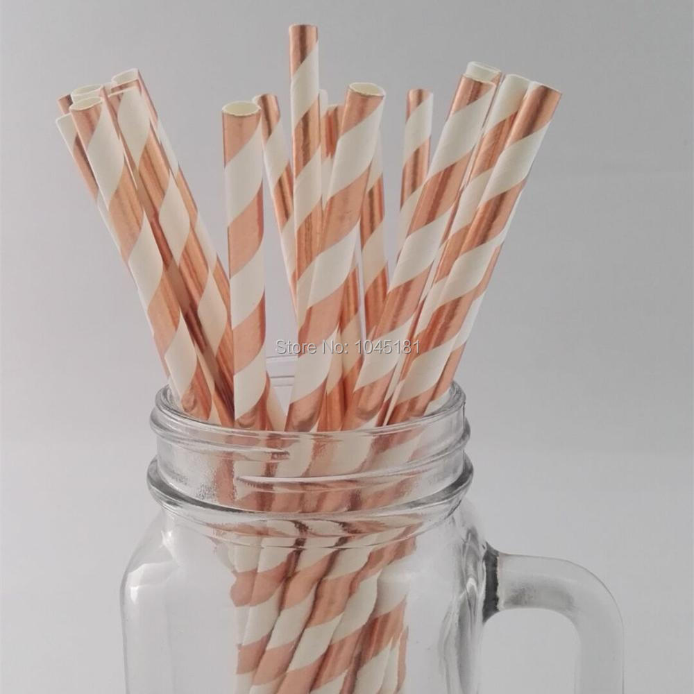 250pcs rose gold foil paper drinking straws striped plain for Decoration murale rose gold