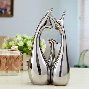 Image 3 - 3 Pcs Moderne Minimalistische Woninginrichting Keramische Ornamenten Woonkamer Goud & Zilver Creatieve Home Decoratie