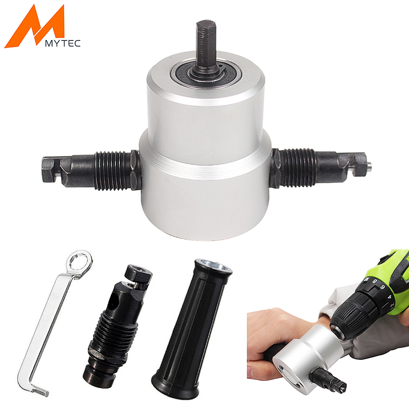 Double Head Metal Sheet Nibbler Cutter Drill Attachment With Wrench Cutting Tool For Electric Drill Power Tool Accessories best selling high quality power tools double headed sheet metal cutting machine accessories with wrench hand tool set