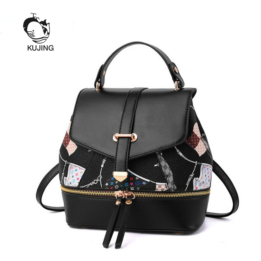 KUJING Fashion Backpacks Premium PU Multifunctional Women Backpack Hot Print Women Travel Leisure Backpack Cheap Luxury Backpack free shipping real photo 2017 pu students backpack cheap women backpacks black deep blue red color my022