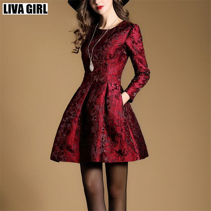 liva girl Spring women dress Fashion Elegant Slim long Sleeve Jacquard party dress European style temperament