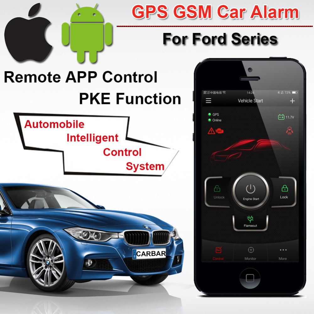 IOS Android PKE Car GSM Alarm for Ford Button Start Stop Keyless Start Engine System Phone Remote Start GPS Tracker CARBAR pke smart car alarm system is with passive auto lock or unlock car door keyless go push button start stop remote start stop