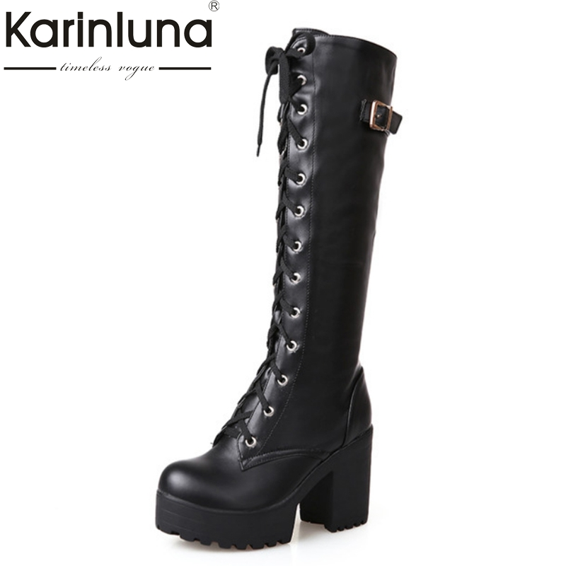 KarinLuna Britsish Sexy Knee High Boots Women Lace Up Buckle Thick Platform Winter Shoes With Fur Snow Boots