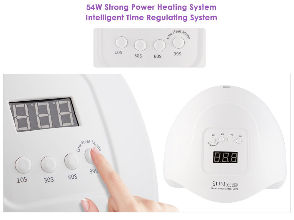 54W SUN X5 Plus Nail Dryer LCD Display 36 LED Dryer Nail Lamp UV LED Lamp for Curing Gel Polish Auto Sensing Lamp For Nails
