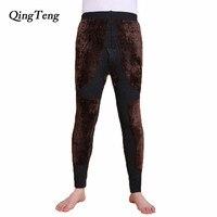 QingTeng Thermal Underwear Super Warm Thicken Merino Wool Yarn Knitted High Waist Mens Winter Warm Pants Long Johns Leggings