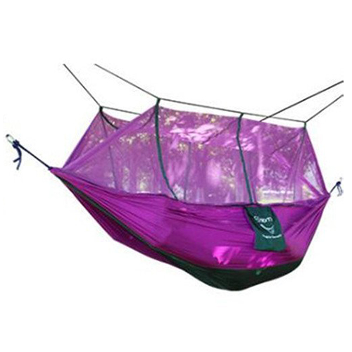 Double Hammock with Mosquito Mesh Garden Parachute Cloth Camping Leisure Hammocks(Blue/Green/Orange Red/Purple) thicken canvas single camping hammock outdoors durable breathable 280x80cm hammocks like parachute for traveling bushwalking
