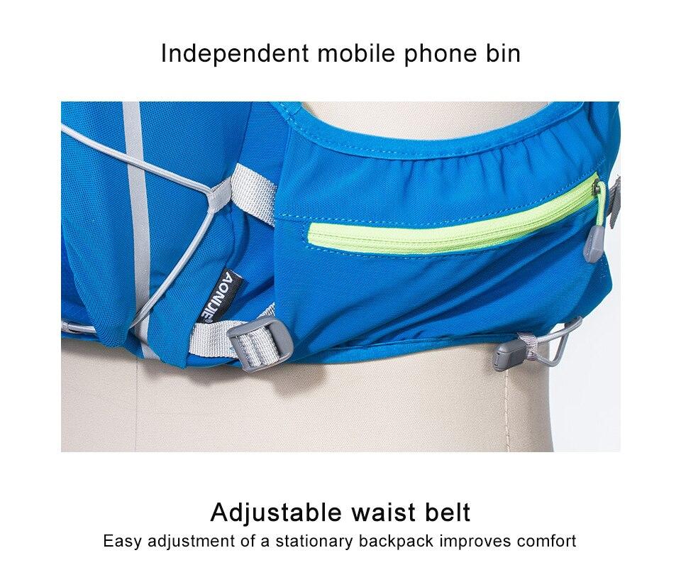 2018 AONIJIE Pro de las mujeres de los hombres 10L al aire libre bolsas mochila de senderismo chaleco maratón mochila ciclismo opcionales botella de agua de botella bolsa - 4