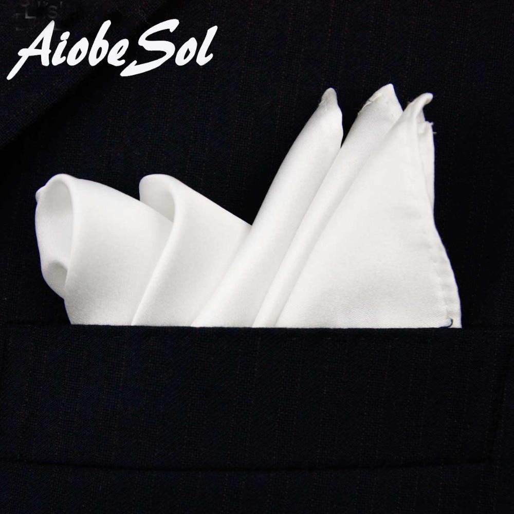 100% natuurlijke zijde heren handgemaakte klassieke witte zakdoek pocket vierkante hanky geen doos