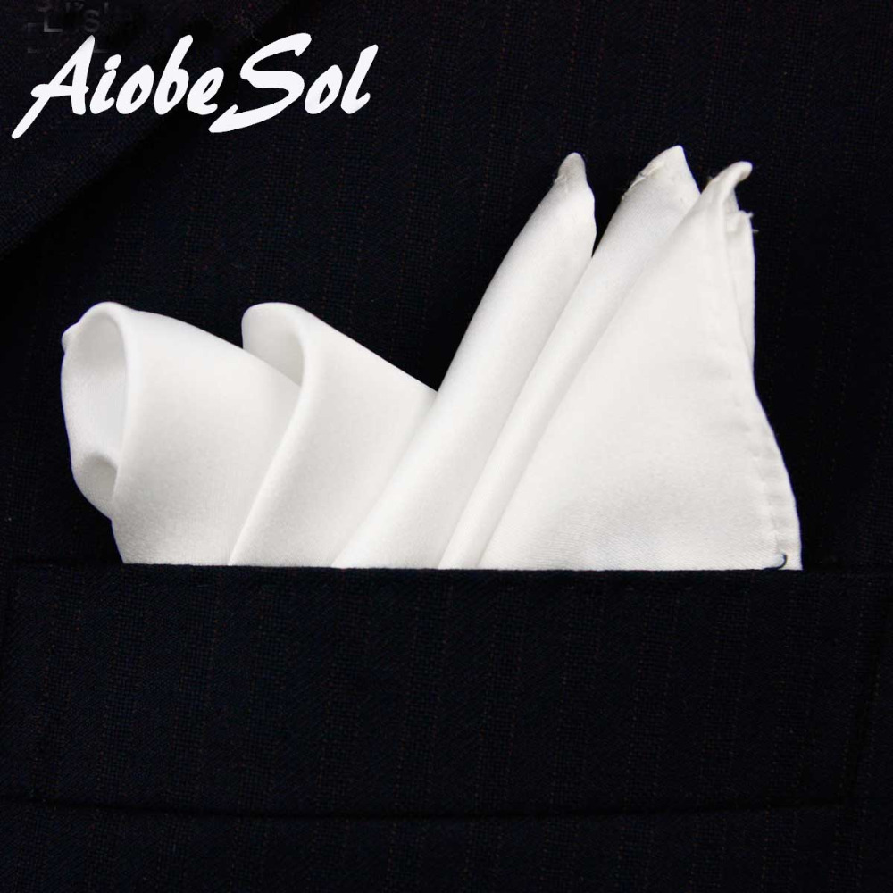 100% Natural Silk Men's Handmade Classical White Pocket Handkerchief Pocket Square Hanky No Box