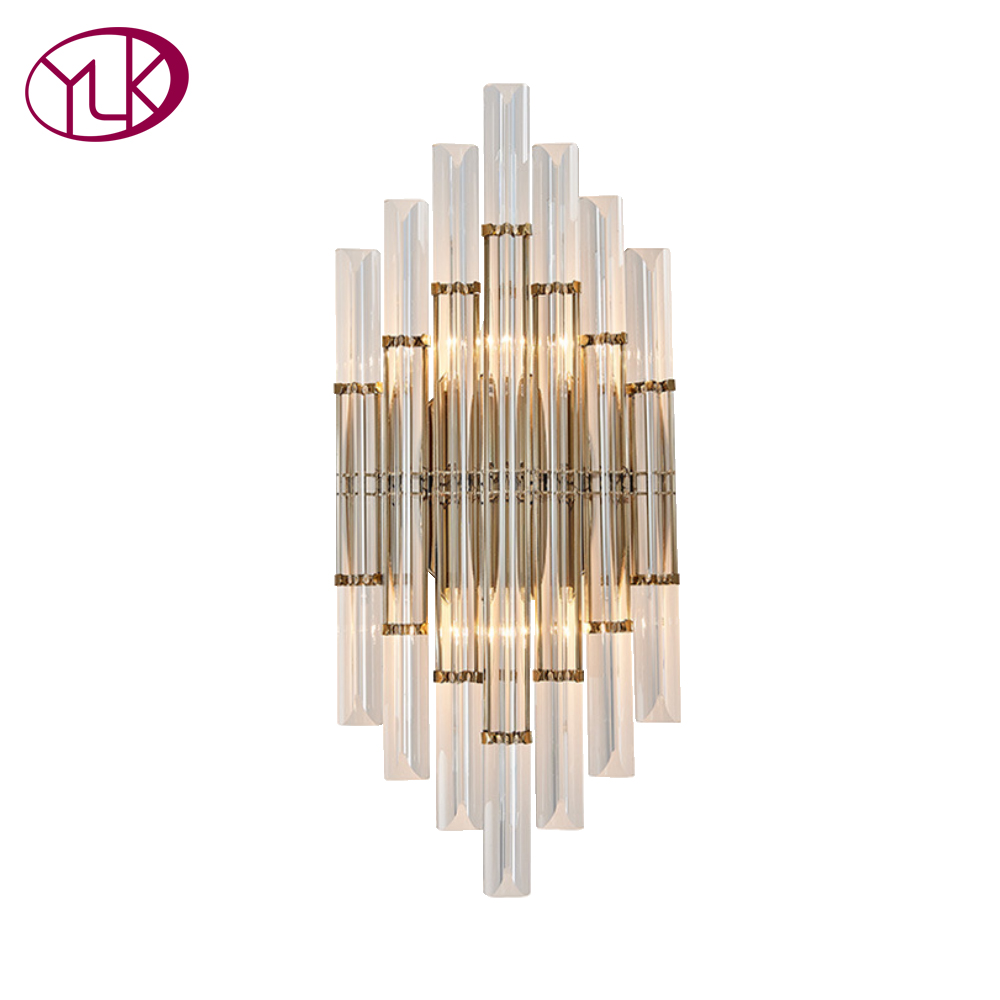 Youlaike Modern Wall Lamp Sconce Gold Foyer Living Bedroom Bedside Wall Lamp Light Sconce With Crystal