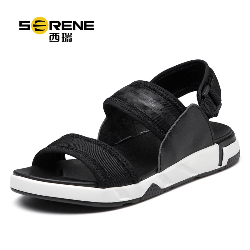 Men Casual Sandals Black Summer Shoes Breathable Mesh Leather Footwear Soft Rome Style Durable Anti-slip Beach Sandals Fashion