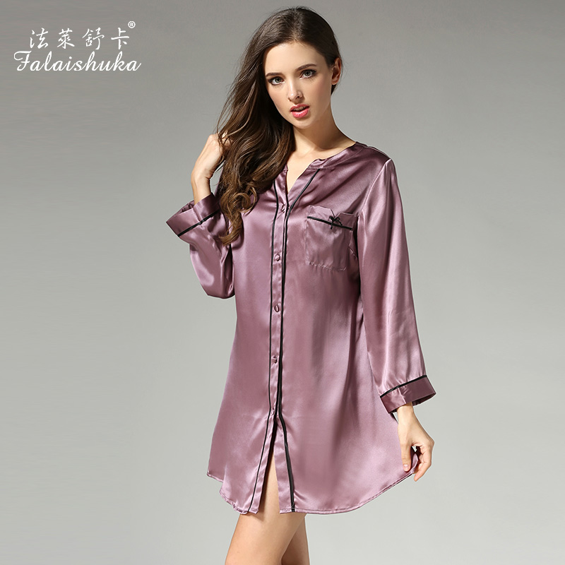 2019 Summer Women Silk   Sleepshirts   Long Sleeved V-Neck 100% Mulberrry Silk   Nightgowns   Fashion High Quality Silk Sleepwear S3632