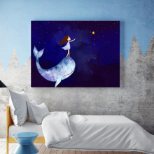 Watercolor Girl Whale Blue Sky Star Wall Art Canvas Painting Nordic Posters And Prints Wall Pictures For Kids Baby Room Decor