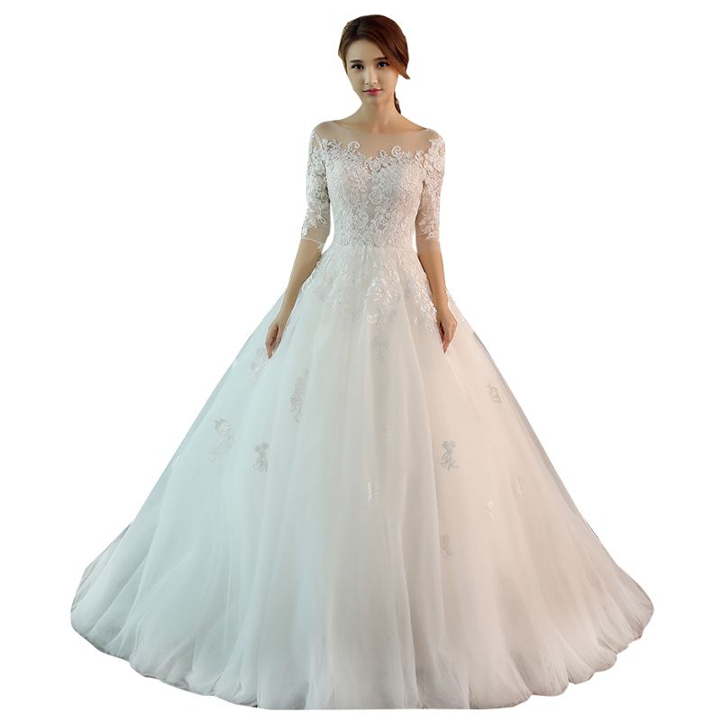 Wedding Dress Female 2019 New Lace Up Wedding Dresses Bride Marriage Long Sleeve Ball Gowns Dress Plus Size