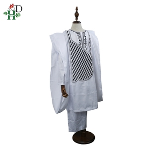Image 5 - אין כובע אפריקאי בגדי גברים דאשיקי אב בן ילד ילדי חליפות חולצות חולצה צפצף 3 חתיכות סט רקמה לבן אפריקאי mens בגדים