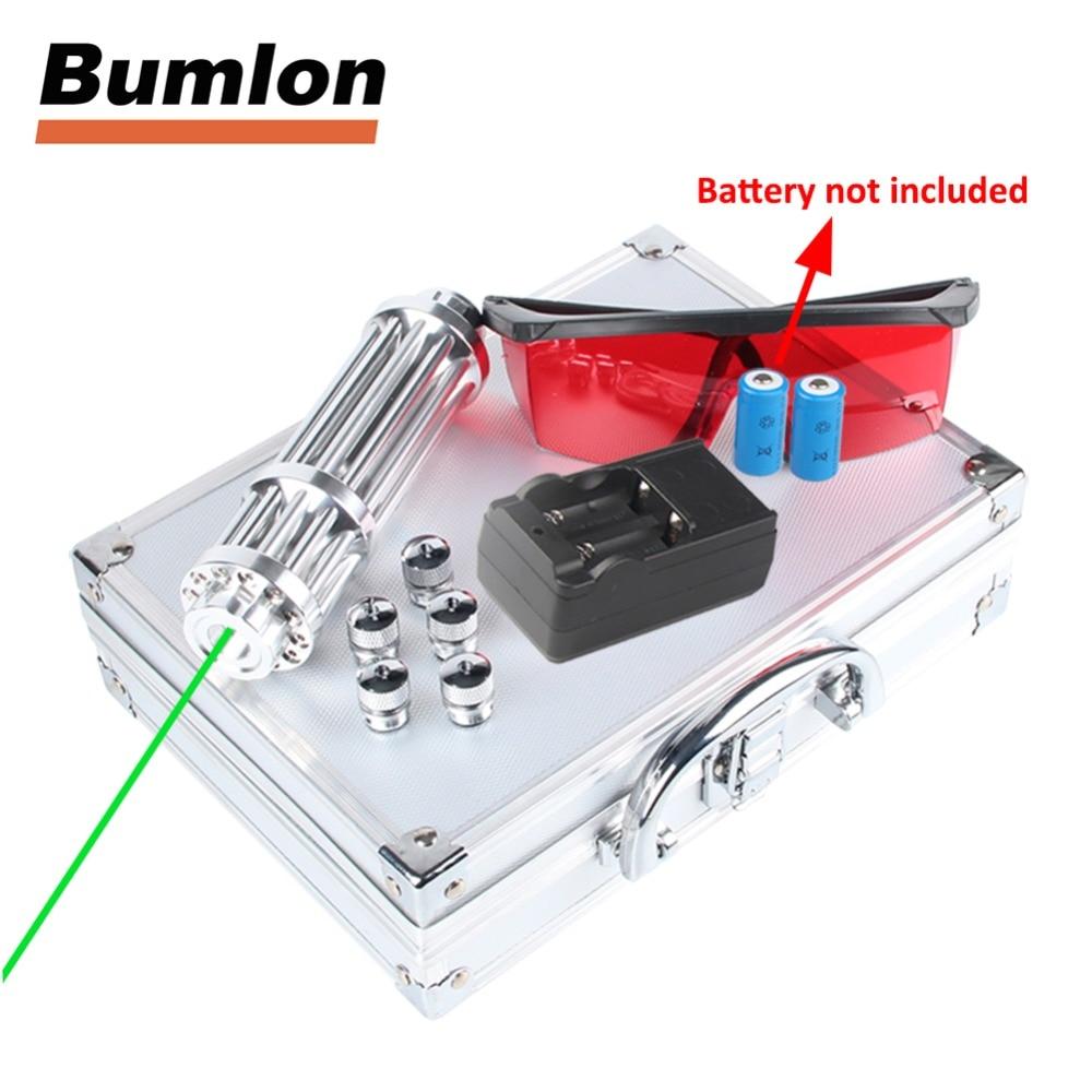Vert Laser Pointeur 50-80nm Haute Puissance Mobile Laser Stylo Rechargeable Batterie Lumière Mise Au Point Réglable Avec 5 étoiles Casquettes Boîte RL3-31