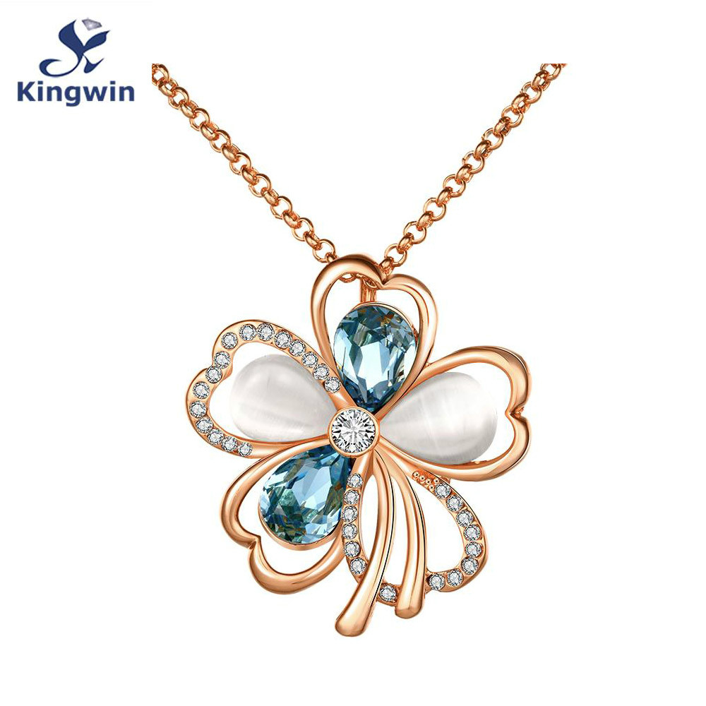 Italy Design Jewelry Italy Designer Fine Gold Color Pendant Long Necklaces 18 Inch Chains Female Fashion Flower Design Jewelry Wholesale Multi Color