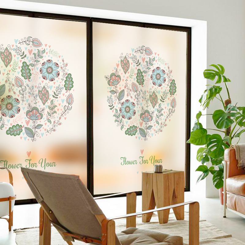 Custom Static Cling Stained Glass Window Film Frosted Opaque & Privacy Home Decor Digital print Removable BLT823 Voice of Brahma