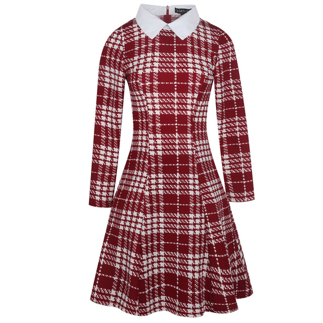 2c280e293c Women Autumn Winter Long Sleeve High Quality Runway White Collar Tartan  Fashion Plus Size Plaid Casual Party Skater Dress 300270