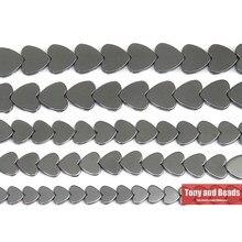 Pietra naturale senza forma di cuore magnetico perline di ematite nera 6x6 8x8 10x10MM 15