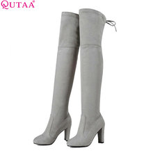 QUTAA 2018 Women Over The Knee Boots Sexy PU leather Square High Heel Women Shoes Winter Warm Motorcycle Boots Size 34-43