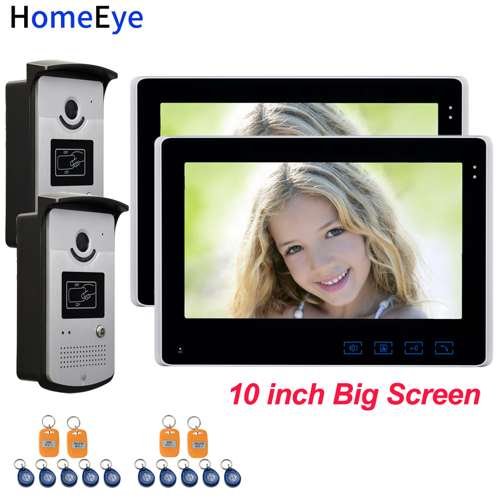 10'' Big Screen Video Door Phone Video Intercom Home Access Control System+RFID Card Reader 1200TVL Waterproof Touch Button OSD