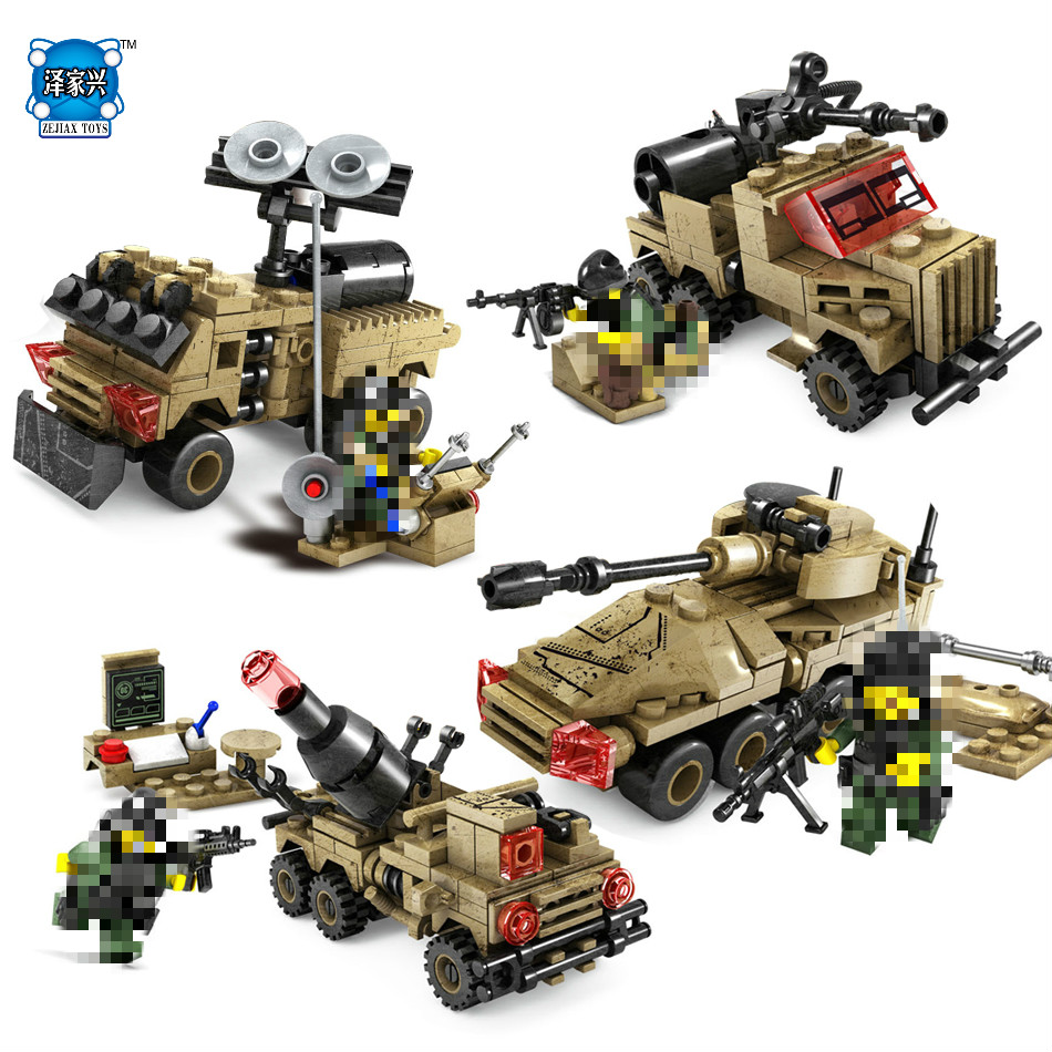 4in1 Tank Armored Vehicles Car Building Blocks Compatible Lepins Military Soldier Weapon War Bricks Toys for Children KAZI Toys kazi 608pcs pirates armada flagship building blocks brinquedos caribbean warship sets the black pearl compatible with bricks